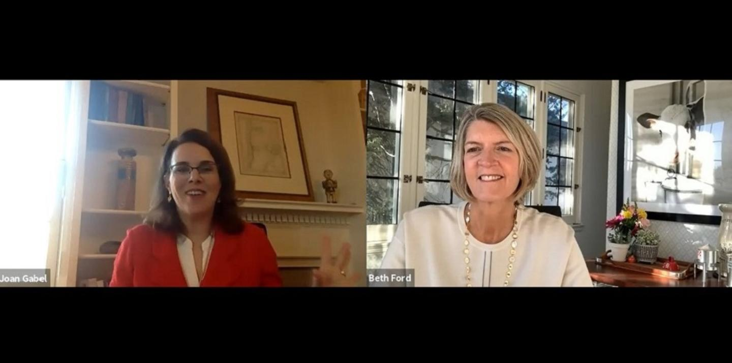 U of M President Joan Gabel and Land O'Lakes president and CEO Beth Ford in conversation via Zoom.