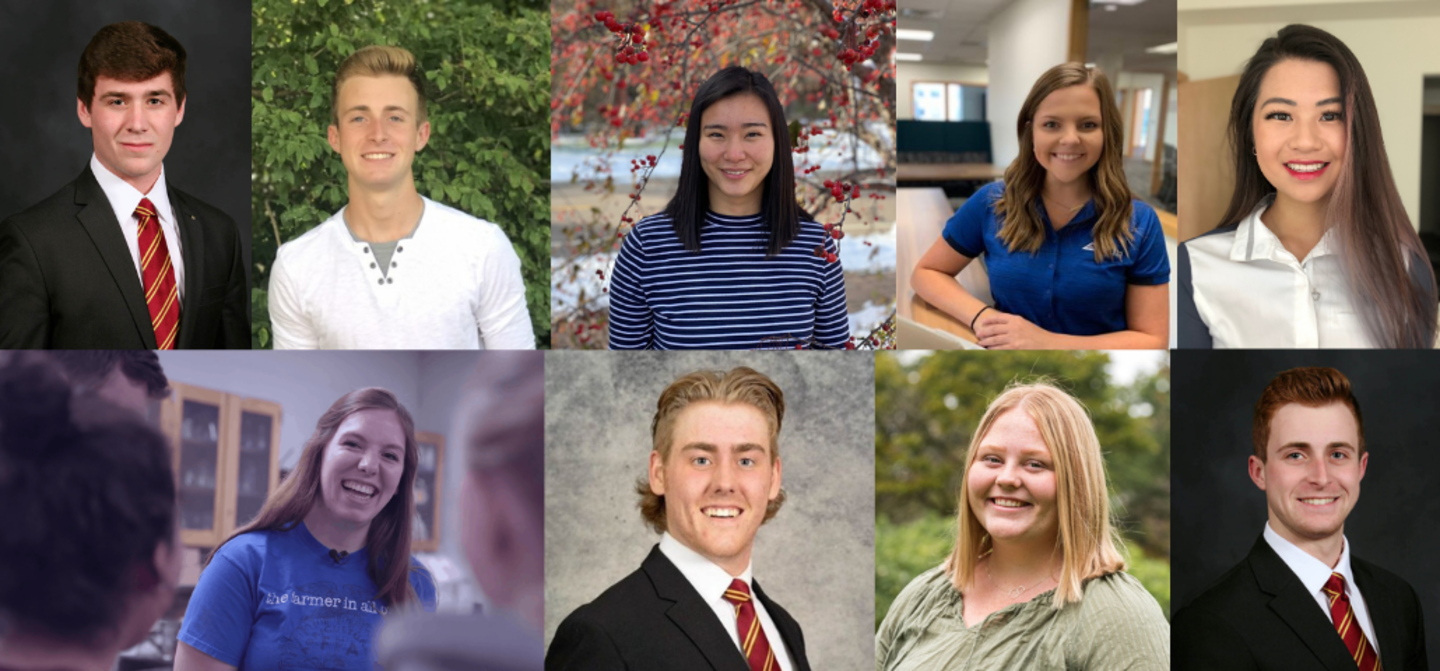 Collage of scholarship recipients of the Land O'Lakes Multifunctional Agricultural & Food Systems Scholarship