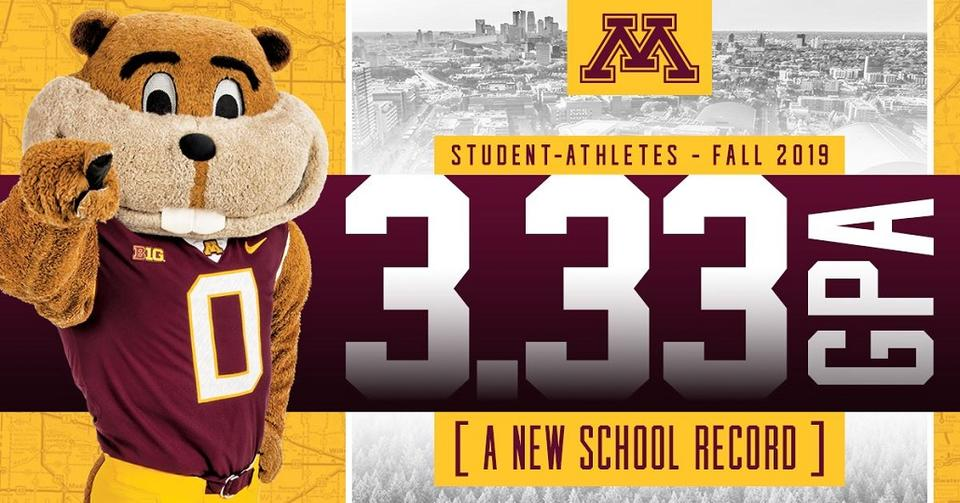 A header image indicating a new GPA record for Gopher athletes