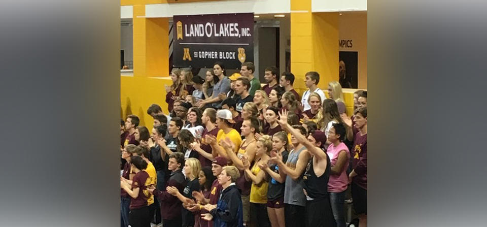 Gopher sports brand impressions, volleyball student section
