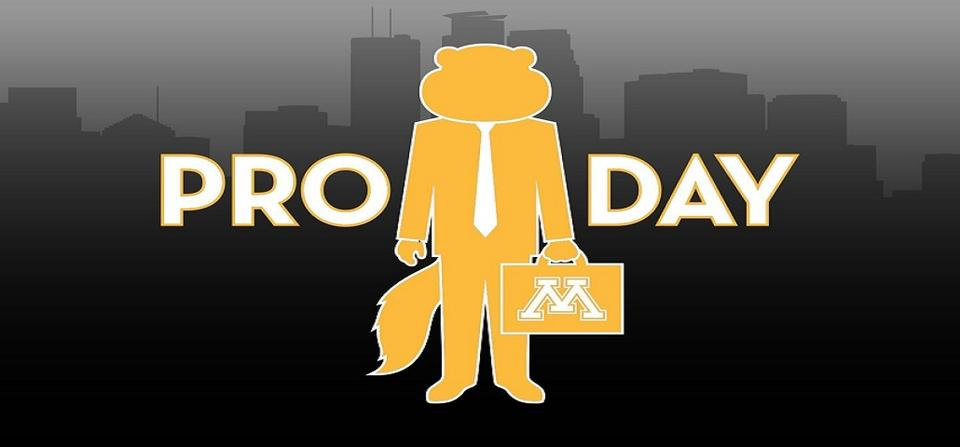 "Header image with the Golden Gophers logo and the words ""Pro Day"""