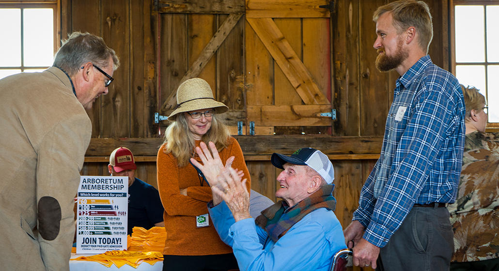 Arboretum members chat with farmers at the Arb Field Festival